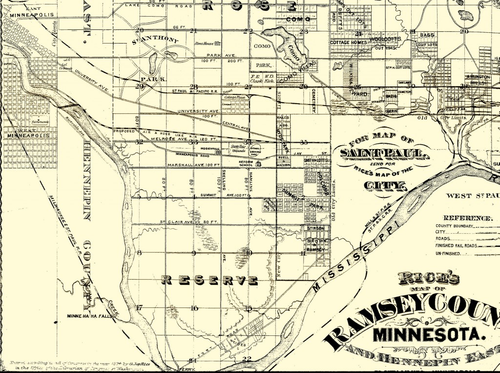 St. Paul Rice Map, 1874
