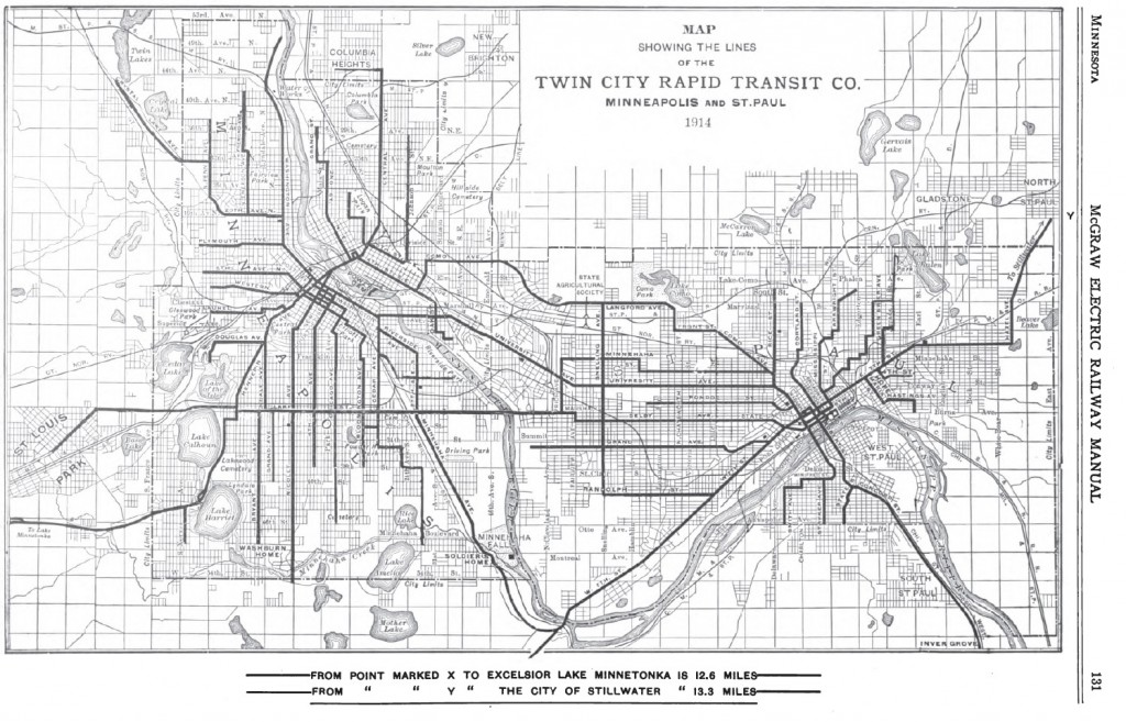 Twin Cities Rapid Transit Route Map, 1914